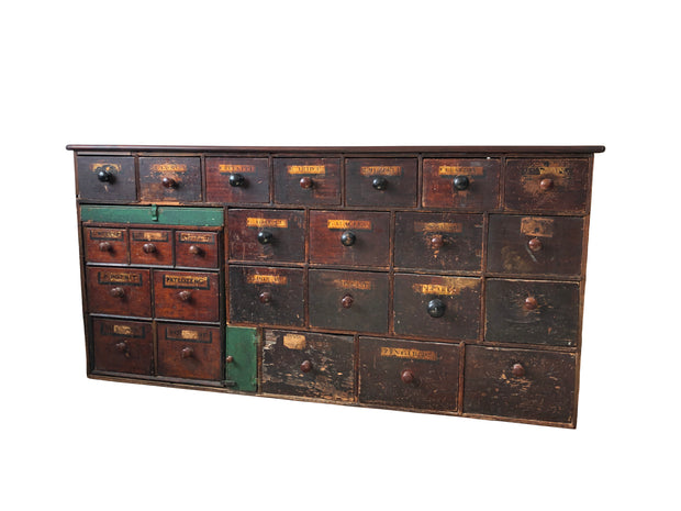 Vintage Antique 19th Century Apothecary Cabinet Chest Of Drawers