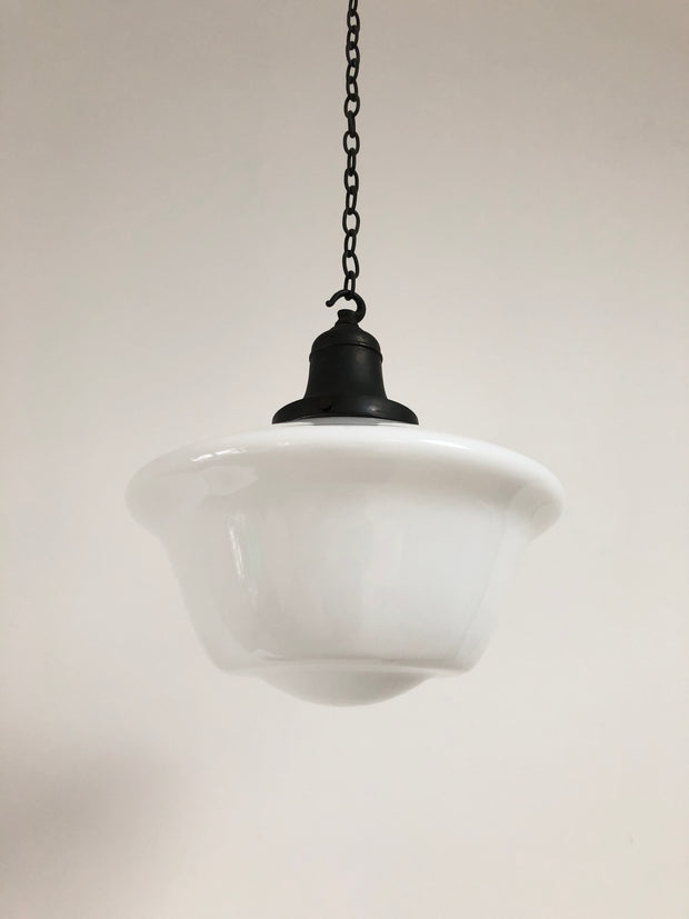 Original Antique Vintage Church Opaline Glass Ceiling Pendant Light