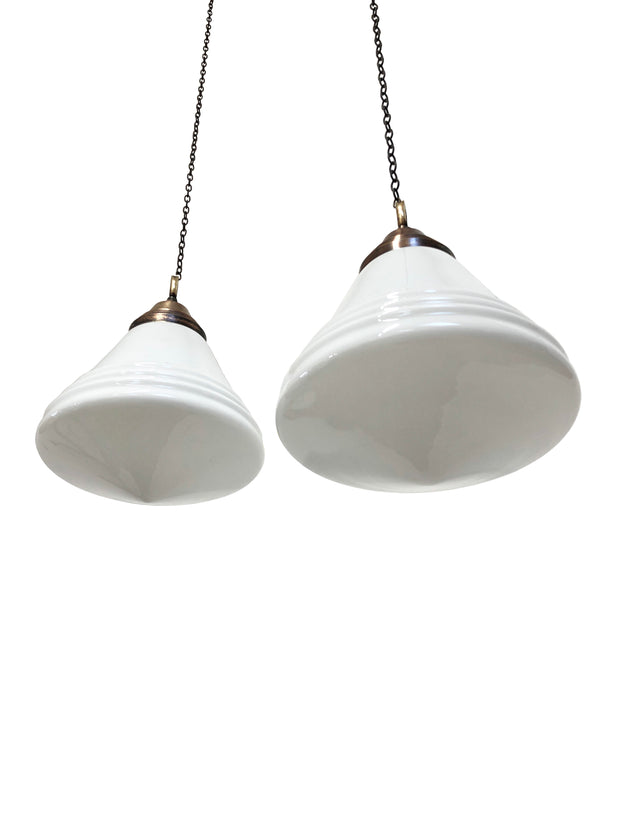 Pair Vintage Antique Art Deco Philips 'Phililite' Opaline Pendant Lights