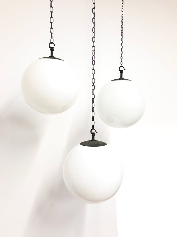 Medium Vintage Antique Industrial Opaline Globe Pendant Lights