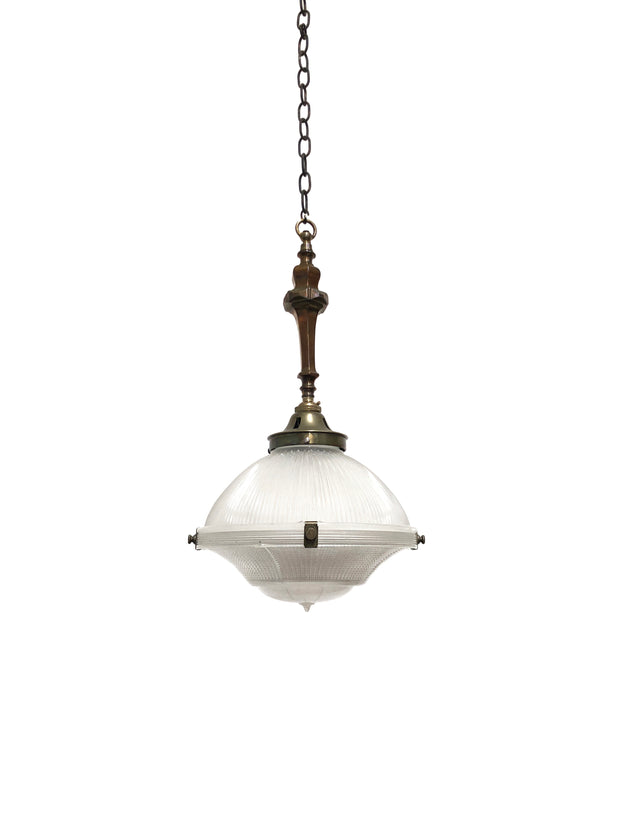 Vintage Antique Holophane Glass Ceiling Pendant Light