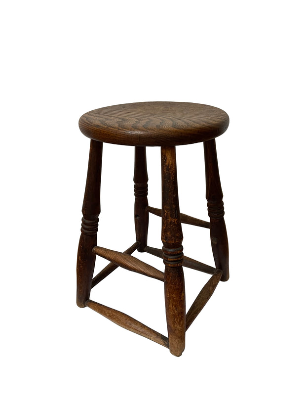 Vintage Industrial Antique Wooden Factory Side Table Stool