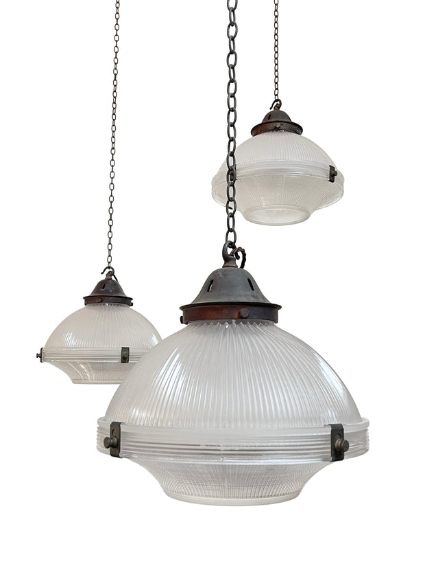 Vintage Antique Industrial Two Part Holophane Pendant Ceiling Lights