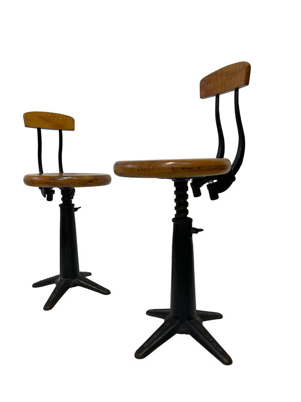 Pair Two Vintage Industrial Antique Original Singer Sewing Spring Back Factory Chairs