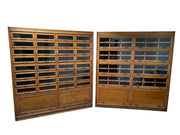 Antique Vintage Industrial Oak Haberdashery Chest Of Drawers Glass Display Cabinet