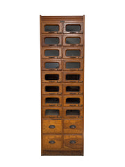 Antique Industrial Vintage Haberdashery Chest Drawers Glass Display Cabinet