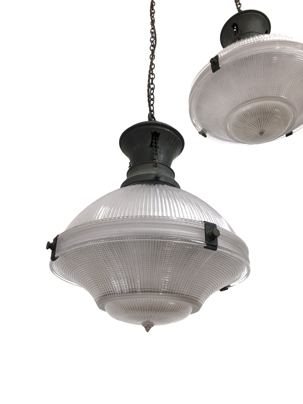 Large Three Part Holophane Pendant Lights