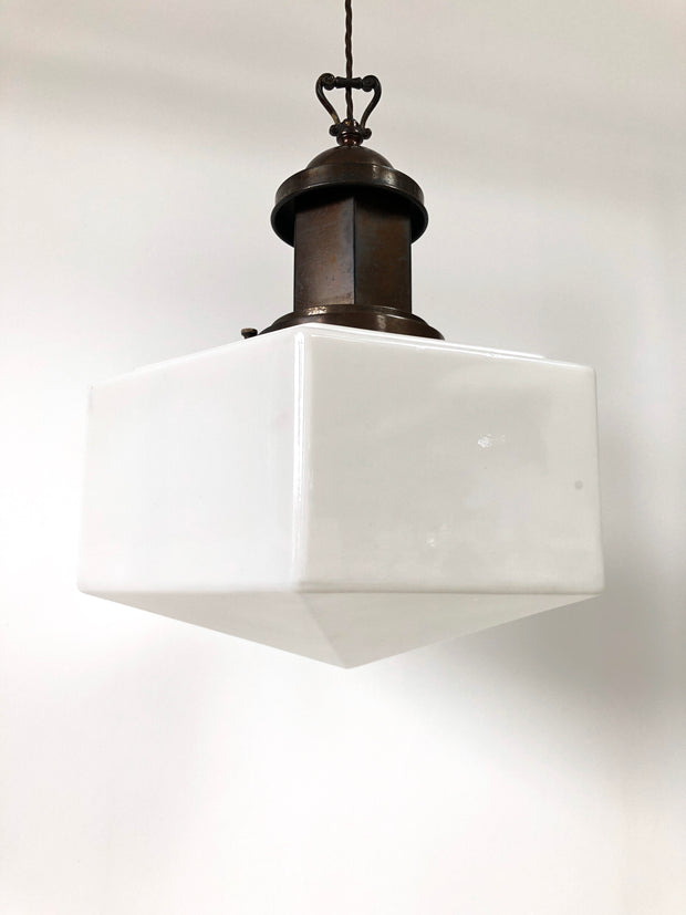 Art Deco Hexagonal Opaline Glass Pendant Light