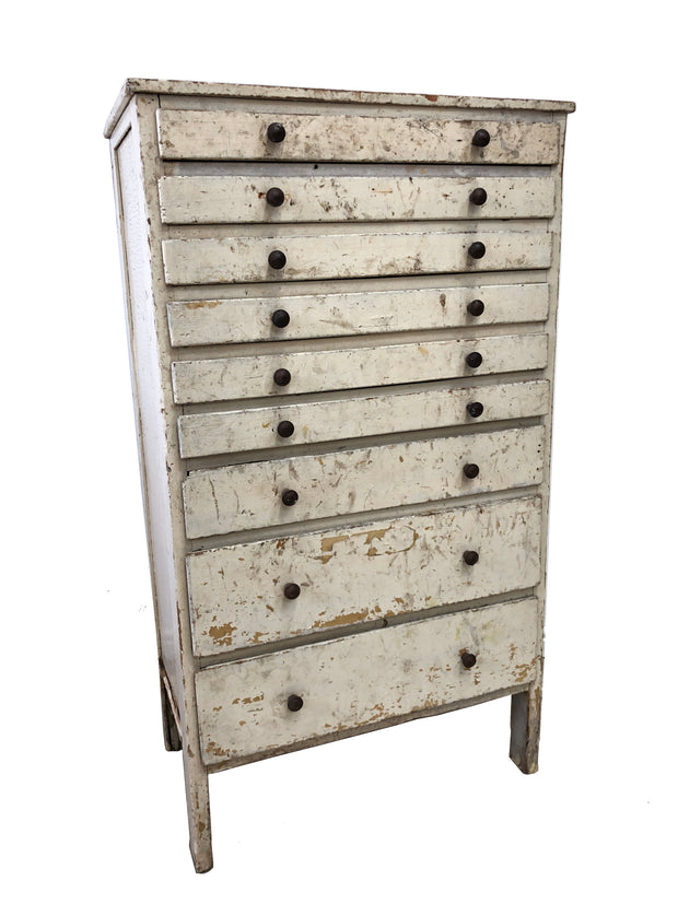 Antique Industrial Pine Engineers Chest Of Drawers