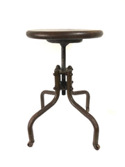Vintage French Industrial Adjustable Factory Stool