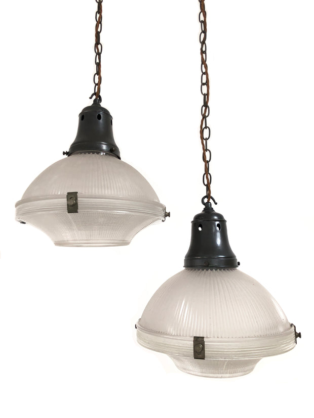 Large Two Part Holophane Antique Vintage Pendant Ceiling Light