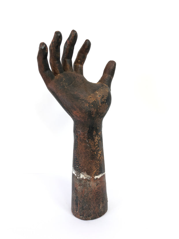 Vintage Antique Industrial Decorative Cast Iron Hand Sculpture