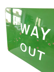 Antique Vintage British Railway Way Out Platform Enamel Sign