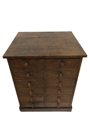 Antique Vintage Industrial Workshop Chest Of Drawers
