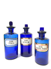 Antique Vintage Blue Glass Apothecary Chemist Bottles