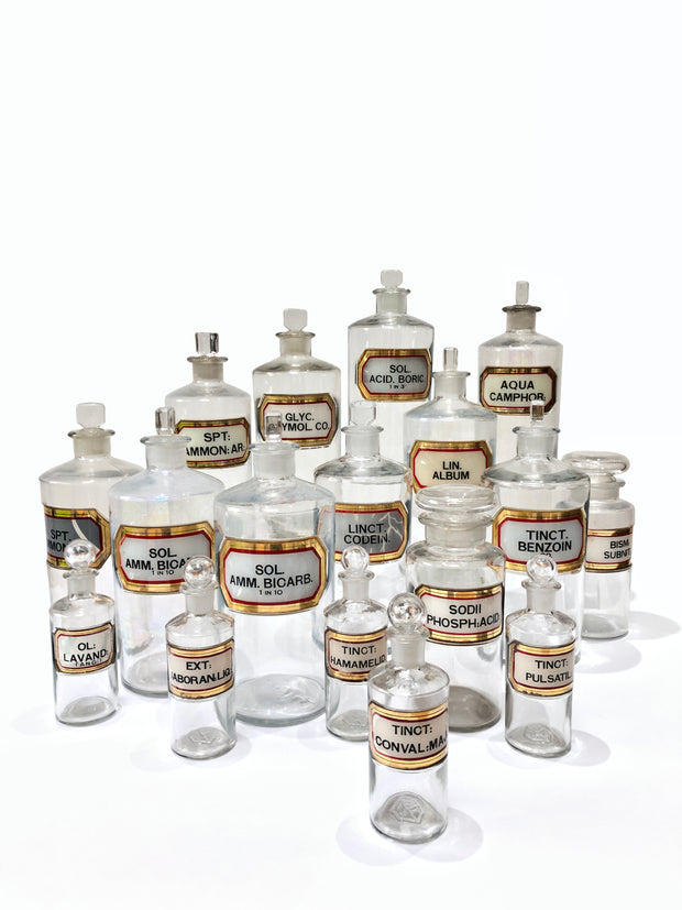 Collection Antique Vintage Victorian Glass Apothecary Chemist Bottles