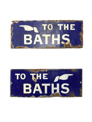 Pair Of Vintage Antique Enamel 'To The Baths' Advertising Signs