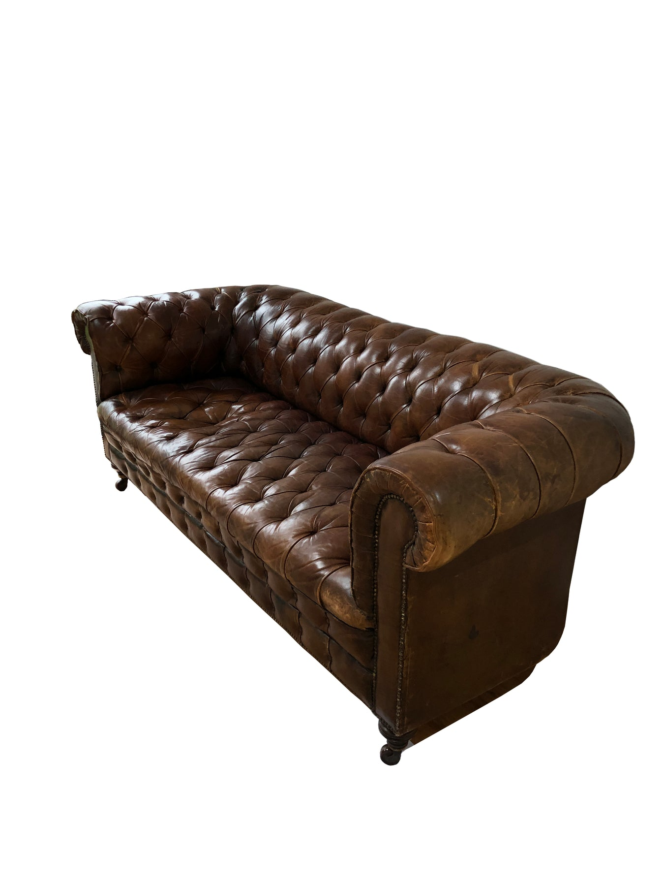 Vintage Antique Brown Leather Chesterfield Sofa John Zoffa