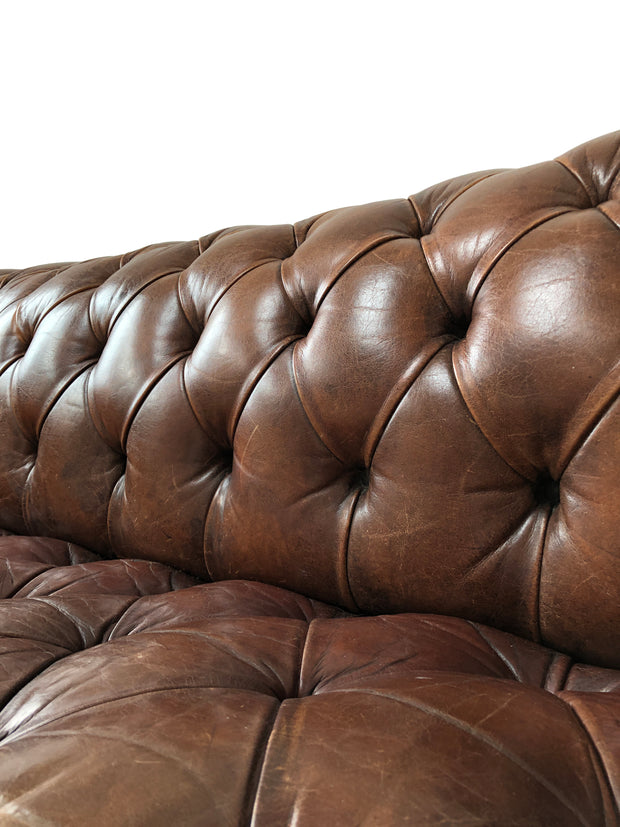 Vintage Antique Brown Leather Chesterfield Sofa