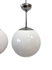 Large Antique Church Opaline Globe Pendant Lights