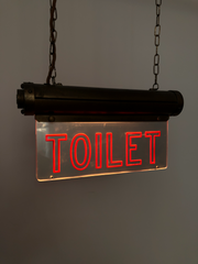 Antique Vintage Art Deco Brass Illuminated Flambosign Toilet Sign