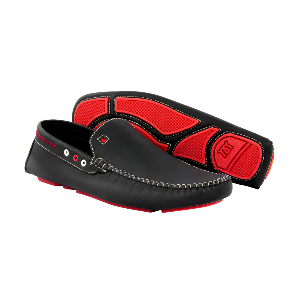 Mockas Black with Red Soles - Gumi Leather for Adults