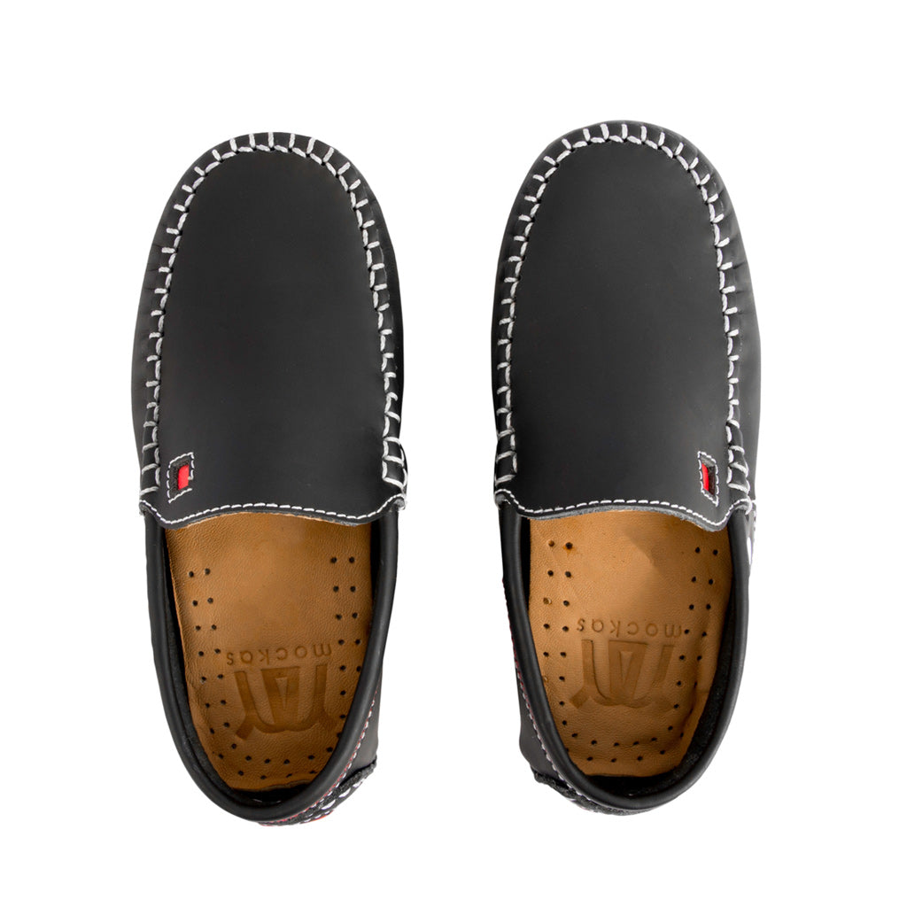 Black with Red Soles - Gumi Leather for Kids