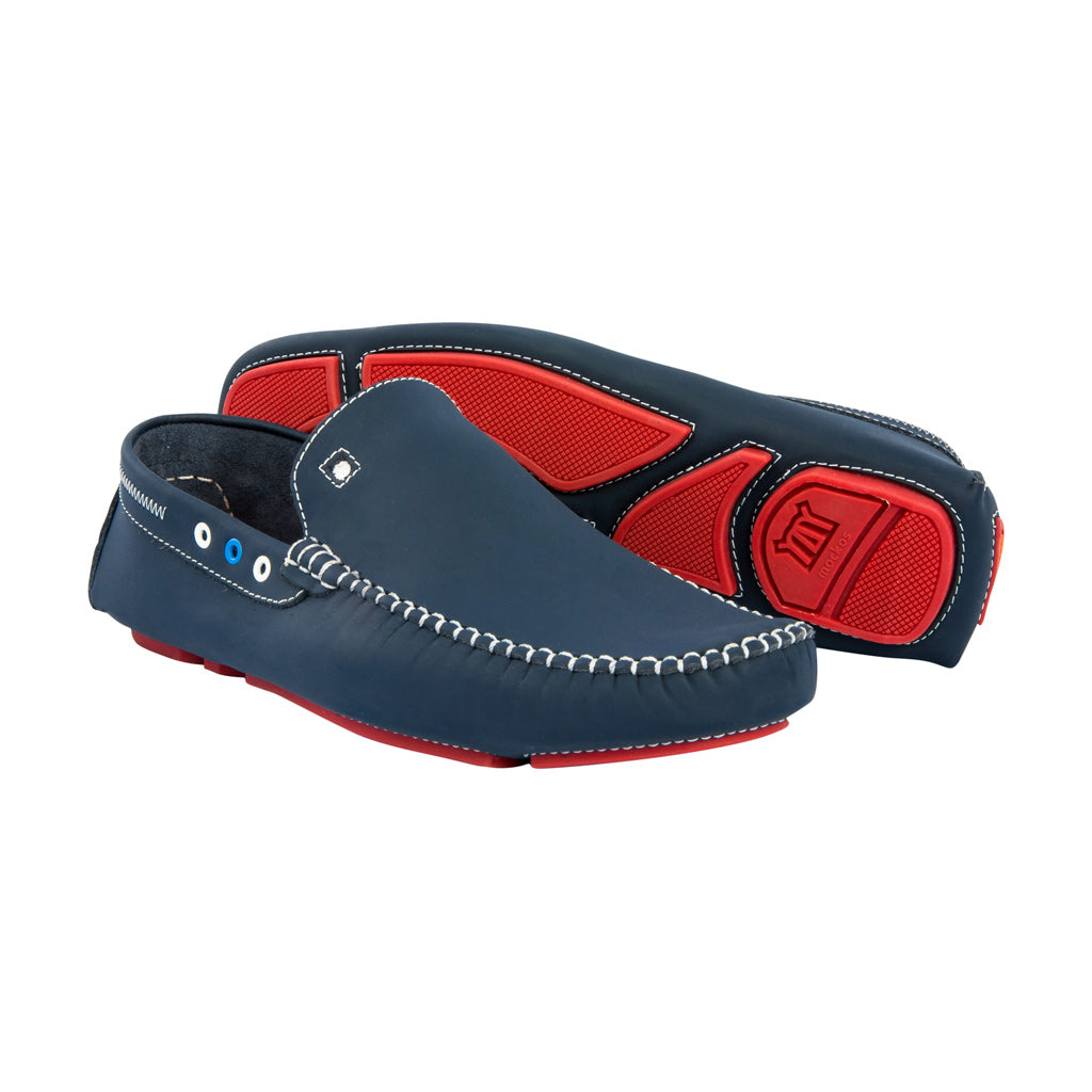 Blue with Red Soles - Gumi Leather for Kids