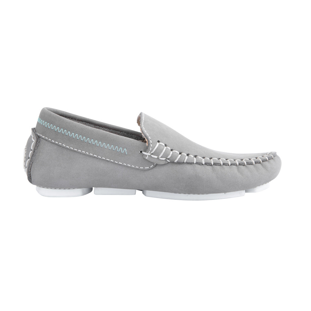 Grey with White Soles - Nubuck Leather for Kids
