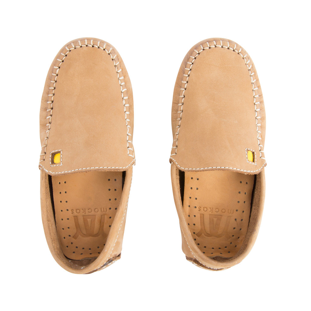 Tan with White Soles - Nubuck Leather for Kids