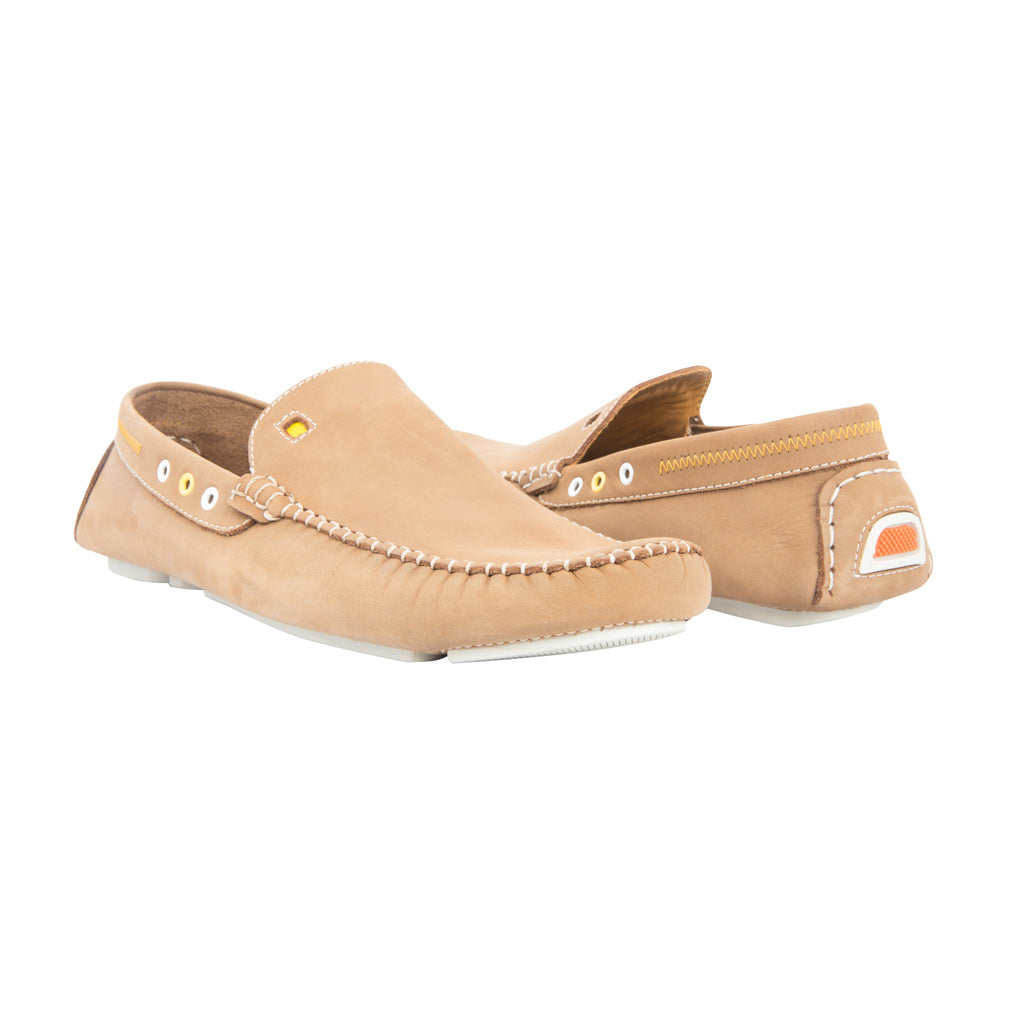 Tan with White Soles - Nubuck Leather for Adults