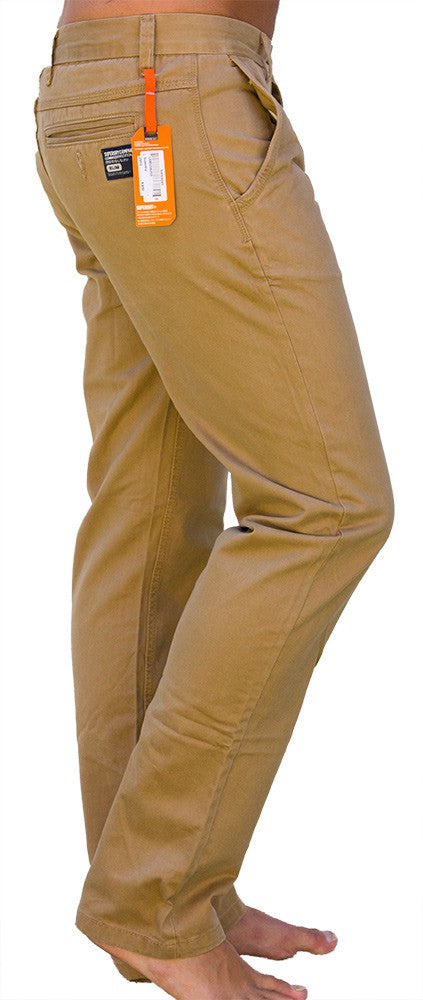 Superdry Men's Regular Fit Khaki Chinos - Labels4Less