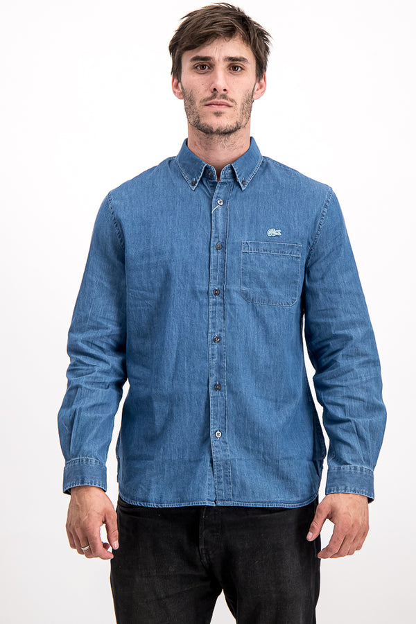 Lacoste Men's Regular Fit Denim Shirt In Blue