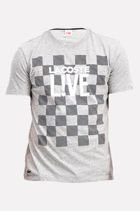 Lacoste LIVE Men's Checkered T-Shirt In Grey