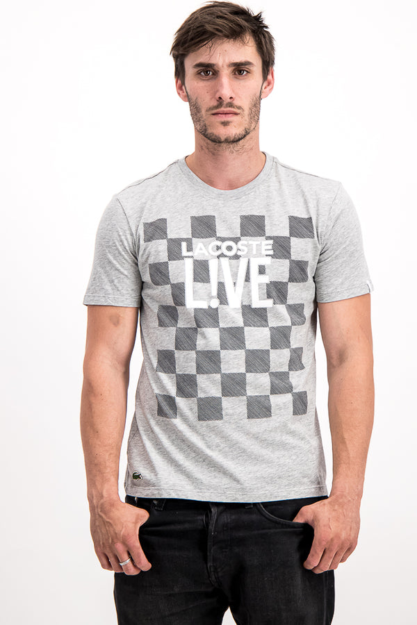 Lacoste LIVE Men's Checkered T-Shirt In Grey - Labels4Less