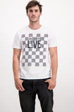 Lacoste LIVE Men's Checkered T-Shirt In White