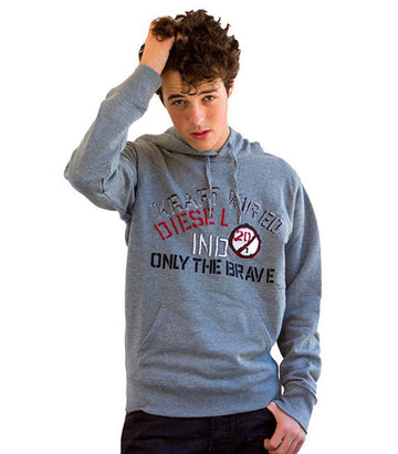 "Diesel Men's ""Only The Brave"" Hoodie In Grey"