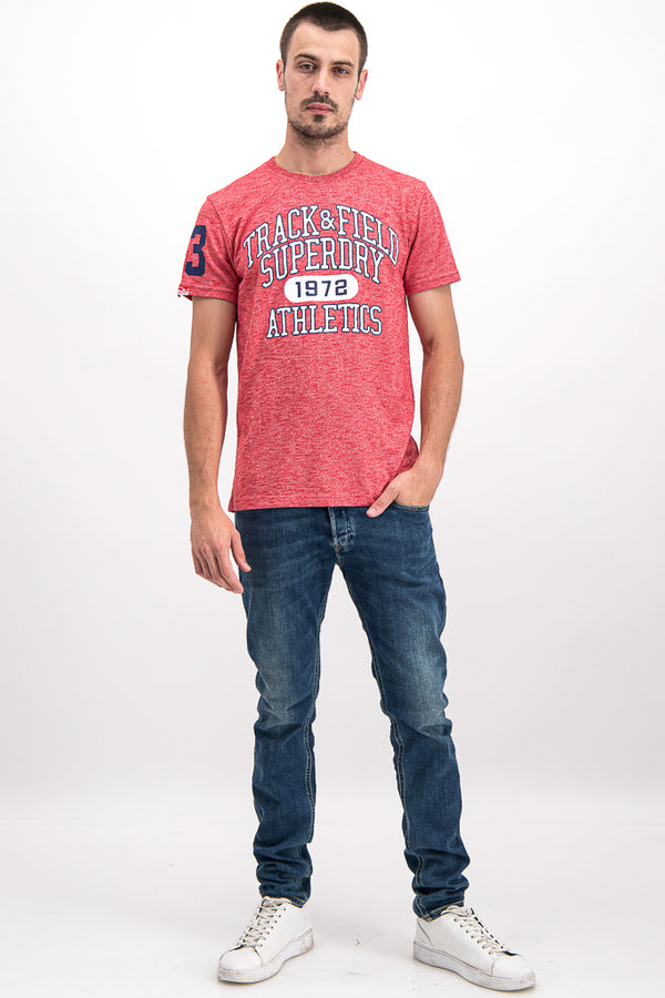 Superdry Men's Track & Field 1972 T-shirt In Coral - Labels4Less