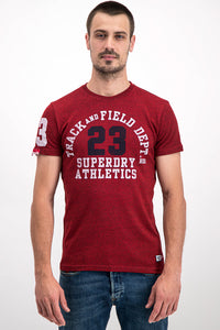 Superdry Men's Track and Field Dept 23 T-shirt In Red - Labels4Less