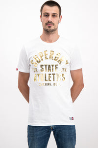 Superdry Men's State Athletics T-Shirt In White - Labels4Less