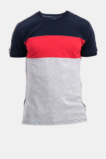 Superdry Men's Tri-Color Athletic T-shirt In Grey