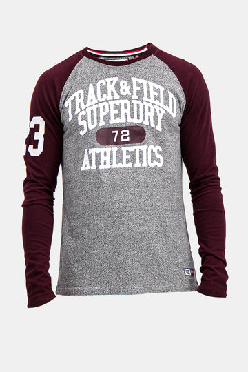Superdry Men's Surf Co. Long-Sleeve Top In Grey/Maroon