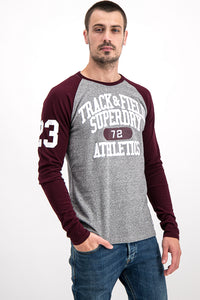 Superdry Men's Surf Co. Long-Sleeve Top In Grey/Maroon - Labels4Less