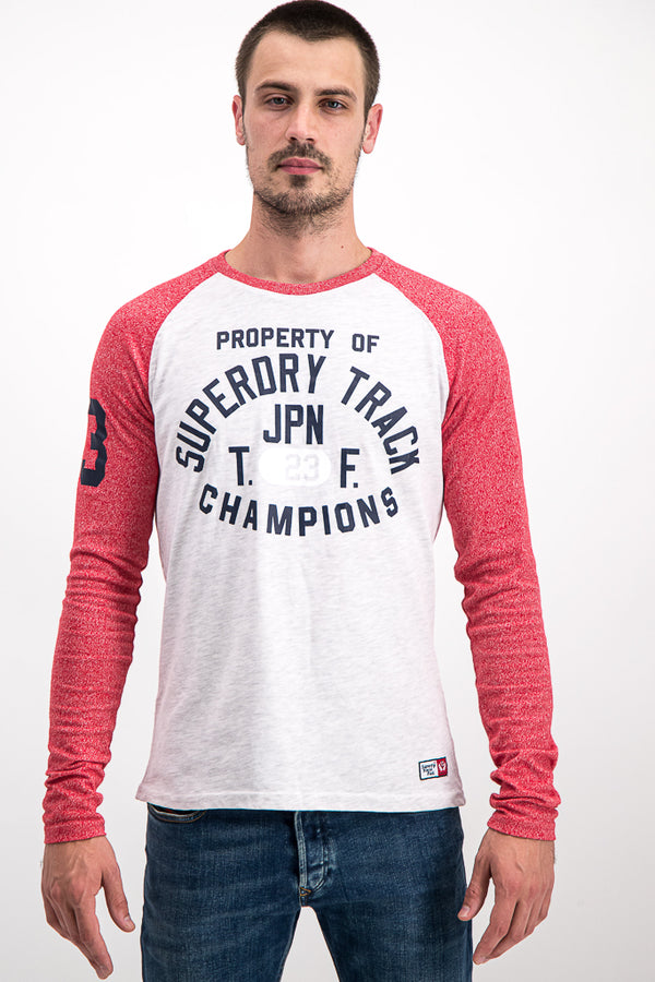 Superdry Men's Surf Co. Long-Sleeve Top In White/Coral