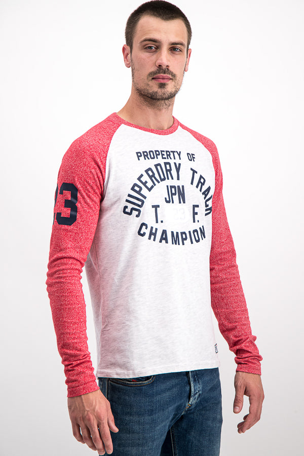 Superdry Men's Surf Co. Long-Sleeve Top In White/Coral - Labels4Less