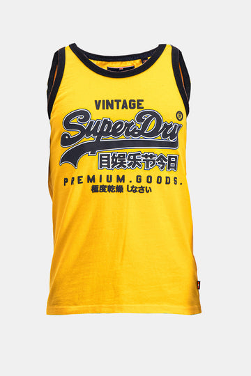 Superdry Men's Premium Goods Ribbed Vest In Yellow