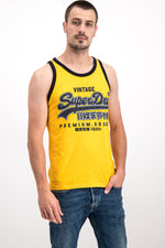 Superdry Men's Premium Goods Ribbed Vest In Yellow - Labels4Less