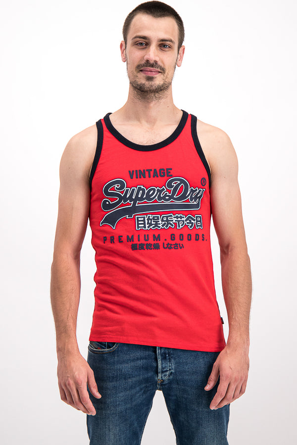Superdry Men's Premium Goods Ribbed Vest In Red - Labels4Less