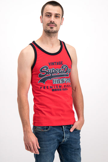 Superdry Men's Premium Goods Ribbed Vest In Red