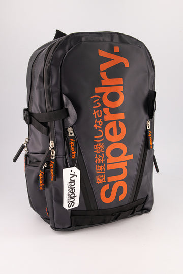 Superdry Men's Mega Ripstop Tarp Backpack In Black/Orange